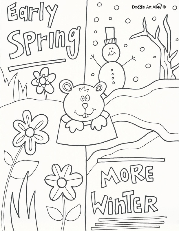 Groundhog Day Coloring Pages - Doodle Art Alley